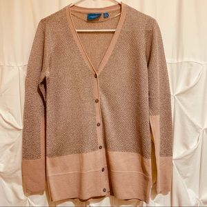 Pink and Silver Threads Long Sleeve Cardigan